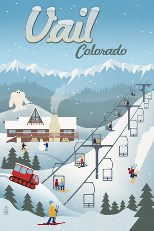 Vail, Colorado - Retro Ski Resort Poster by  Lantern Press