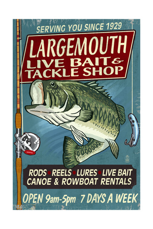 Large Mouth Bass Tackle - Vintage Sign Prints by  Lantern Press