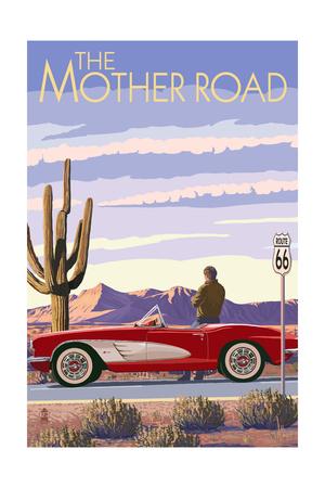Route 66 - Corvette Prints by  Lantern Press