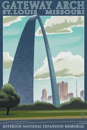 St. Louis, Missouri - Gateway Arch Lithography Style Print by  Lantern Press