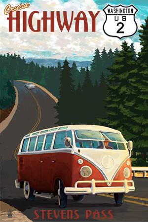 Stevens Pass, Washington - Cruise Highway 2 VW Van Scene Prints by  Lantern Press