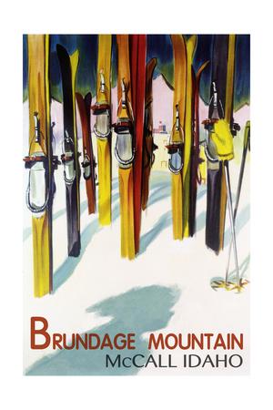Brundage Mountain - McCall, Idaho - Colorful Skis Lantern Press Poster Posters by  Lantern Press