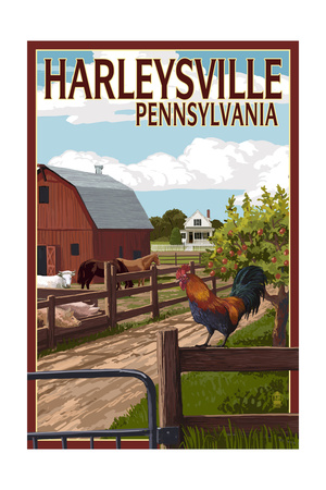 Harleysville, Pennsylvania - Barnyard Scene Posters by  Lantern Press