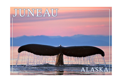 Juneau, Alaska - Humpback Fluke and Sunset Print by  Lantern Press