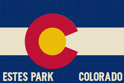 Estes Park, Colorado - Colorado State Flag Prints by  Lantern Press
