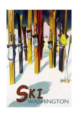 Washington - Colorful Skis Prints by  Lantern Press