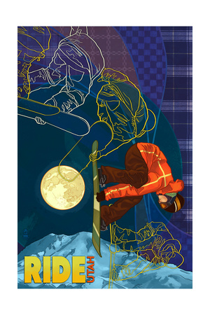 Utah - Timelapse Snowboarder Print by  Lantern Press