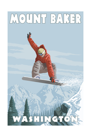 Mount Baker, Washington - Snowboarder Jumping Prints by  Lantern Press