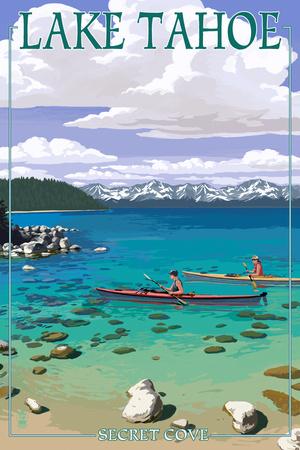 Lake Tahoe - Kayakers in Secret Cove Posters by  Lantern Press