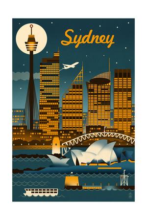 Sydney, Australia - Retro Skyline Lámina por  Lantern Press