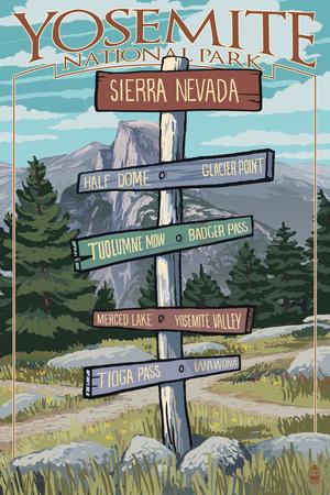 Yosemite National Park, California - Signpost Prints by  Lantern Press