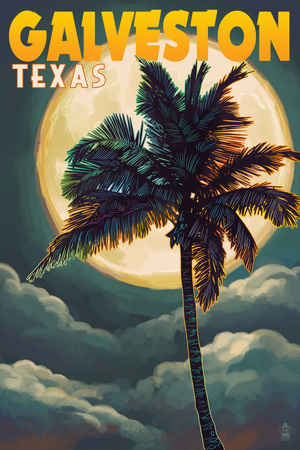 Galveston, Texas - Palm and Moon Poster by  Lantern Press