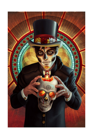 Day of the Dead - Man and Candle Prints by  Lantern Press