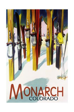 Monarch, Colorado - Colorful Skis Prints by  Lantern Press
