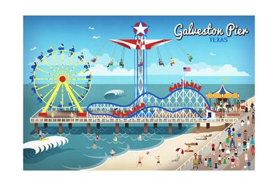 Galveston, Texas - Retro Pier Art by  Lantern Press