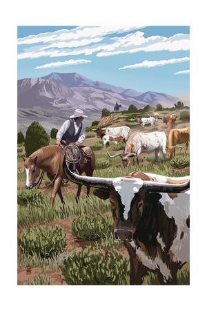 Longhorns Poster by  Lantern Press