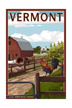 Vermont - Barnyard Scene Prints by  Lantern Press