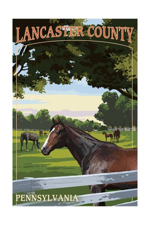 Lancaster County, Pennsylvania - Horse Pasture Prints by  Lantern Press
