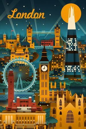 London, England - Retro Skyline Affischer av  Lantern Press