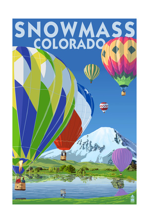 Snowmass, Colorado - Hot Air Balloons Prints by  Lantern Press