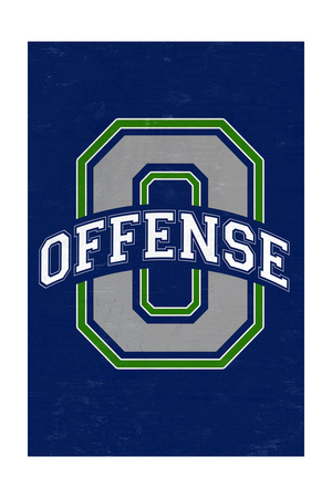 Monogram - Game Day - Blue and Green - Offense Prints by  Lantern Press