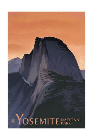 Half Dome - Yosemite National Park, California Lithography Print by  Lantern Press