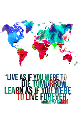 World Map Quote Mahatma Gandi Poster von  NaxArt
