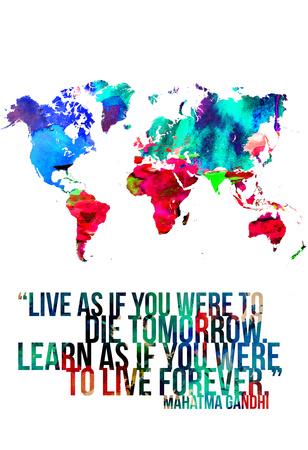 World Map Quote Mahatma Gandi Posters by  NaxArt