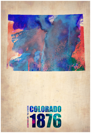 Colorado Watercolor Map Posters by  NaxArt
