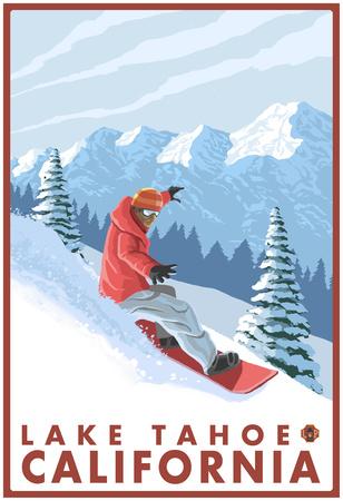 Snowboarder Scene, Lake Tahoe, California Photo