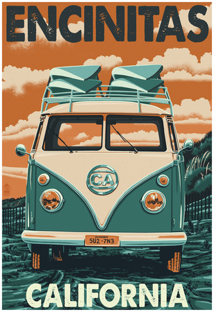 Encinitas, California - Vw Van Blockprint Print