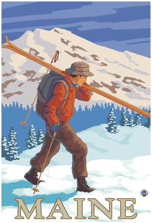 Maine - Skier Carrying Skis Photo