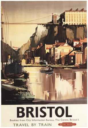 Bristol, England - Clifton Suspension Bridge And Boats British Rail Poster Posters