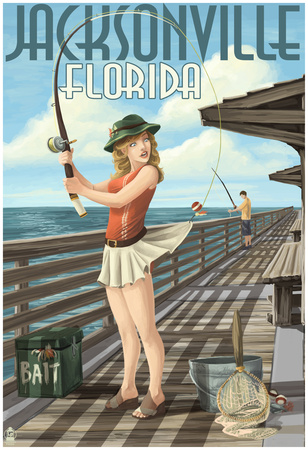 Jacksonville, Florida - Fishing Pinup Girl Posters