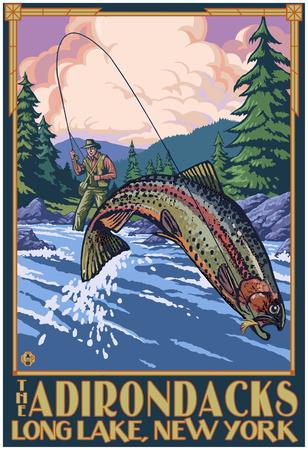 The Adirondacks - Long Lake, New York State - Fly Fishing Posters