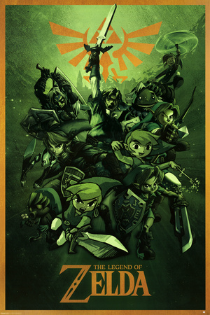 Legend of Zelda green colored splash collage with Triforce symbol poster art