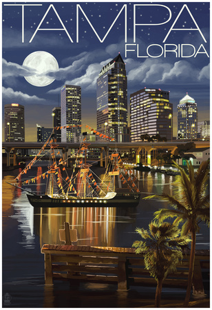 Tampa, Florida - Skyline At Night Posters