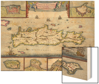 Map of the Island of Candia (Crete) with the Sea Port of Herakleion, circa 1680 Wood Print by Frederick de Wit