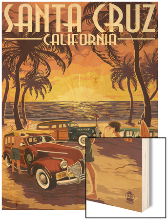 Santa Cruz, California - Vintage Woodies on the Beach Wood Print by  Lantern Press