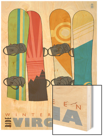 Wintergreen, Virginia, Snowboards in the Snow Wood Print by  Lantern Press