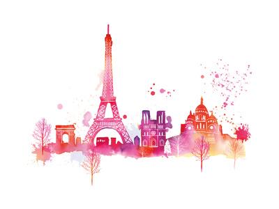 Paris Skyline Giclee Print by Summer Thornton