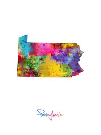 Pennsylvania Map Art by Michael Tompsett