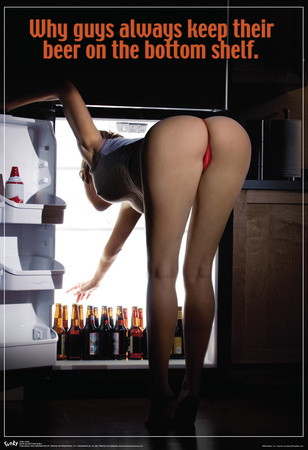 Sexy Girl Bending Over Beer On The Bottom Shelf Poster Prints