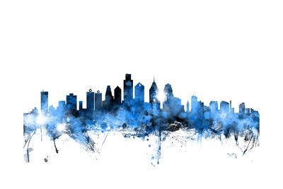 Philadelphia Pennsylvania Skyline Posters by Michael Tompsett