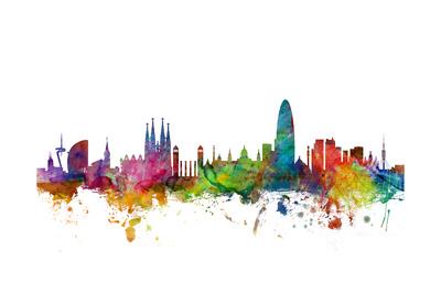 Barcelona Spain Skyline Plakat af Michael Tompsett