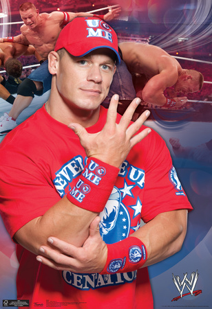John Cena red shirt hat cap wrestling photo poster