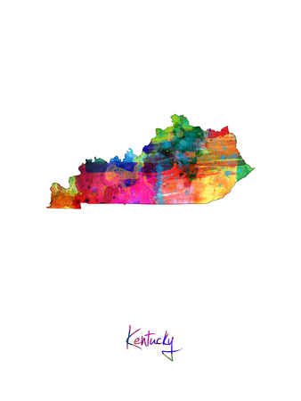 Kentucky Map Photographic Print by Michael Tompsett