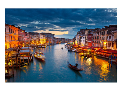 Grand Canal At Night, Venice Prints