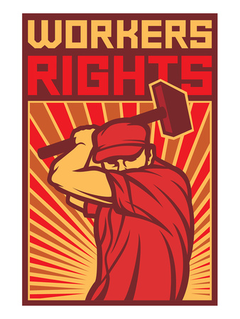 Stylized Workers Rights Poster Posters