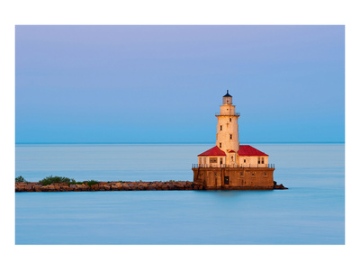 Chicago Lighthouse at Sunset Prints